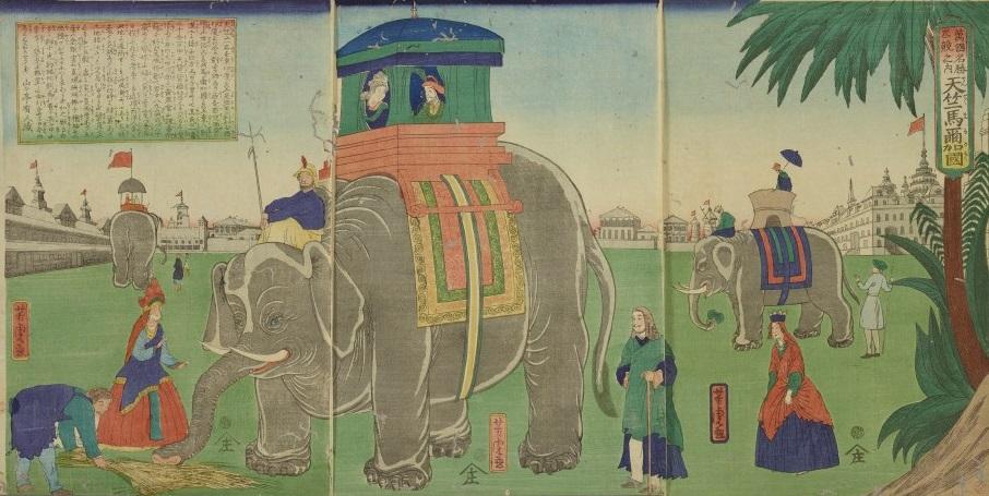 ぬりえの元になった横浜商館仏蘭西人馬乗之図画像
