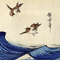 波上を飛ぶ二羽の雀