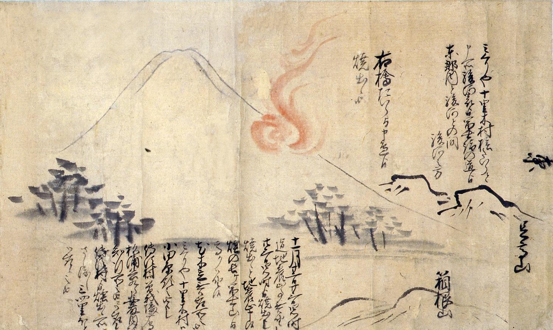 富士山噴火絵図并御徒目付見分書上写(部分)