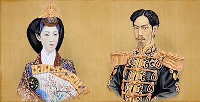 初代五姓田芳柳「明治天皇・皇后肖像」当館蔵