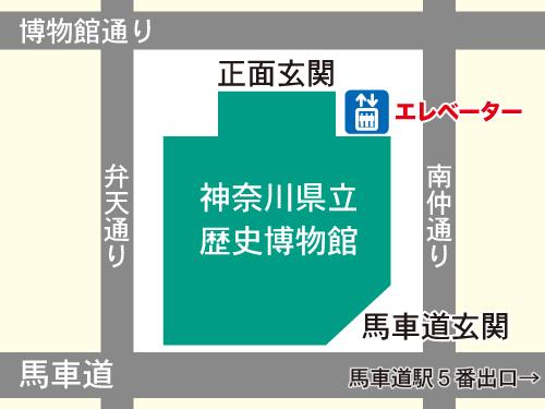 エレベーターの位置の地図
