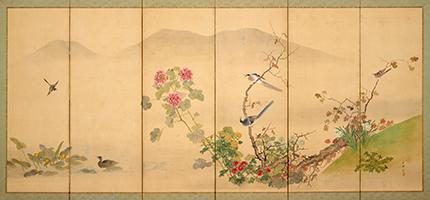 岡本秋暉筆《花鳥図屏風》