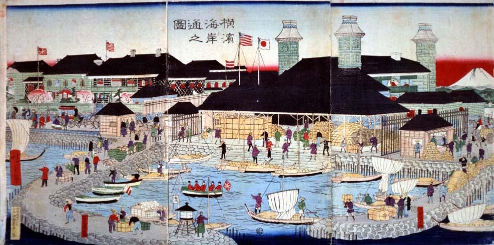 横浜海岸通之図(明治3(1870)年 三代歌川広重)